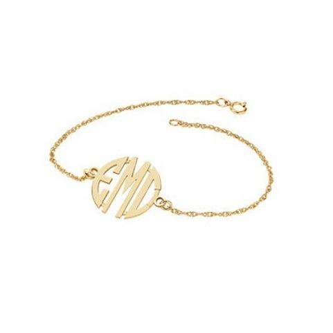 10k 20mm 3-Letter Block Monogram Bracelet