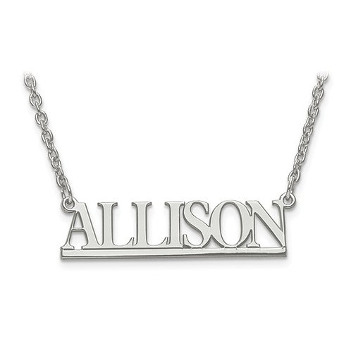 Sterling Silver Small Laser Polished Nameplate with Chain