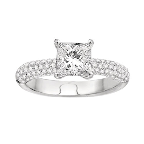 14K White Gold Semi-Mount Vintage Engagement Ring