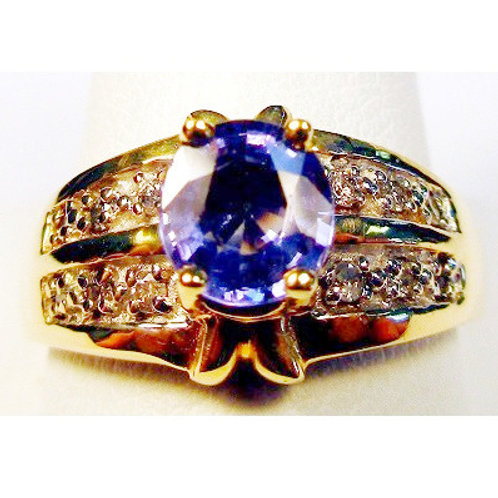 Fat Oval Tanzanite & Diamond Ring