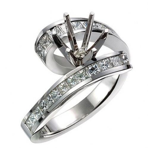 14k White Gold Spiral Engagement Ring