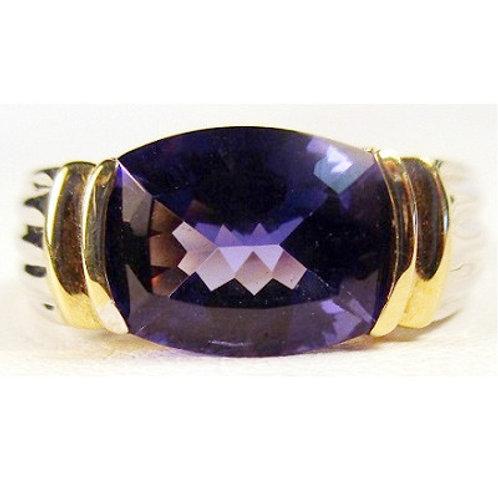 14K Two-Tone Lab Created Tanzanite Ring