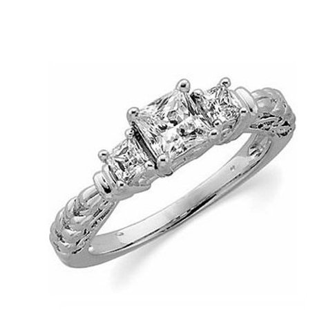 14K White Gold 3-Stone Engagement Ring | 64138