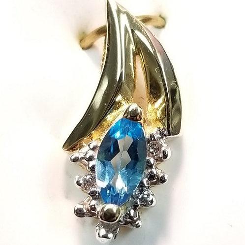 Blue Topaz and Diamonds in 14K Gold