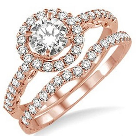 1 Ctw Diamond Wedding Set in Rose Gold