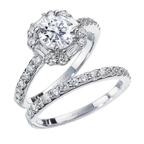 14k White Gold Halo Engagement Set