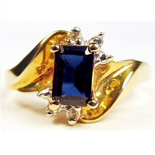 Emerald Cut Synthetic Blue Sapphire & Diamond Ring