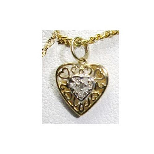 10K Two-Tone Diamond Heart Pendant