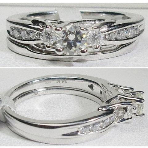 14K White Gold & Diamond Wedding Set