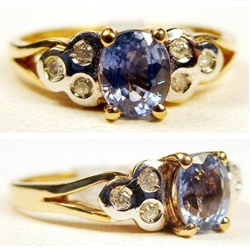 Oval Ceylon Blue Sapphire & Diamond Ring