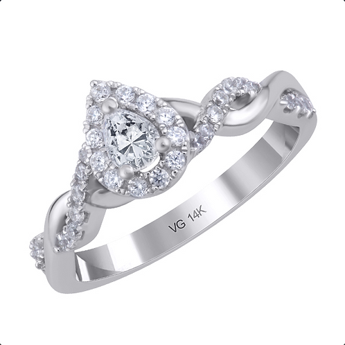 14K white gold diamond engagement ring with 0.25ct. diamond center stone