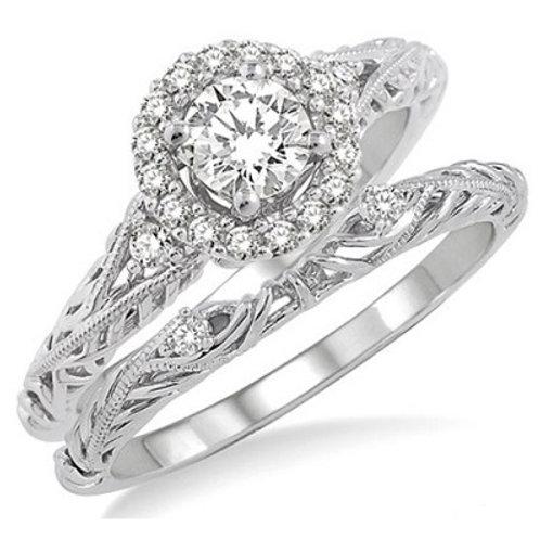 5/8 Ctw Diamond Wedding Set with 5/8 Ctw Round Cut Engagement Ri
