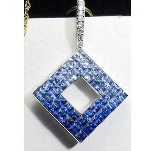 1.5 CTW Ombre Blue Sapphire Pendant