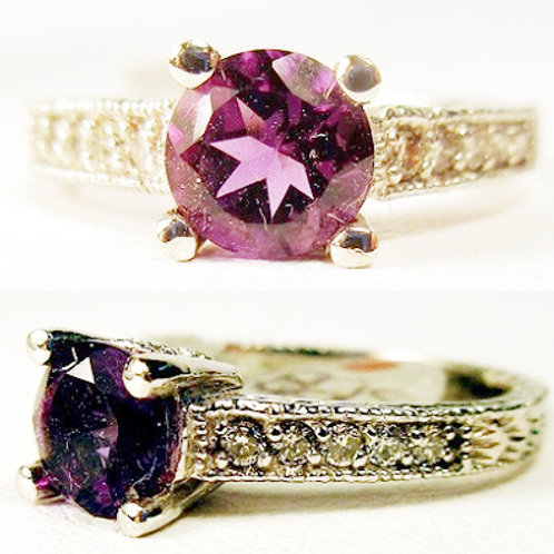 Round Amethyst & Diamond Engraved Band Ring