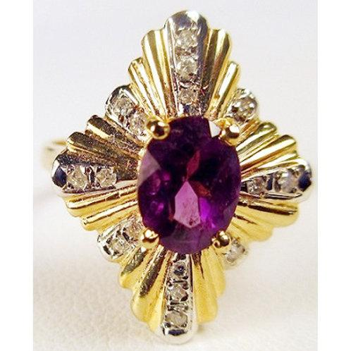 Oval Amethyst & Diamond Ballerina Ring
