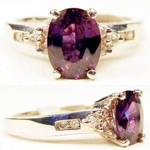 Oval Purple Sapphire & Diamond Ring