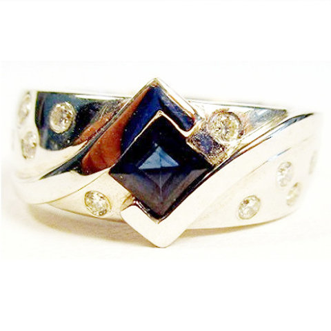 Step Princess Cut Blue Sapphire & Diamond Ring