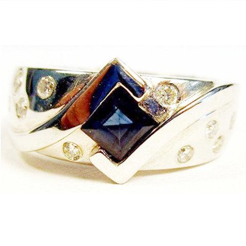 Step Princess Cut Blue Sapphire & Diamond Ring