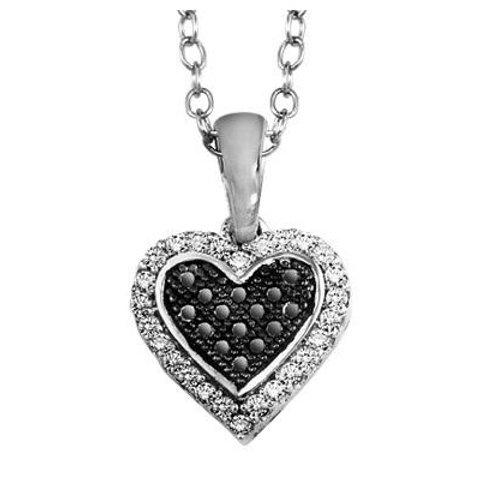 Silver 1/7 ctw Black and White Diamond Pendant /