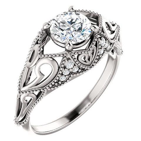 14K White 5.8mm Round .08 CTW Diamond Semi-set Engagement Ring