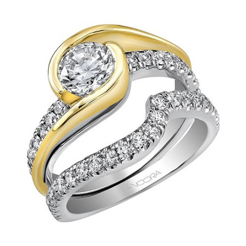 14K two tone engagement ring
