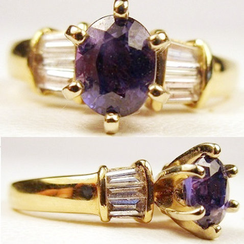 Oval Color Change Sapphire & Diamond Ring