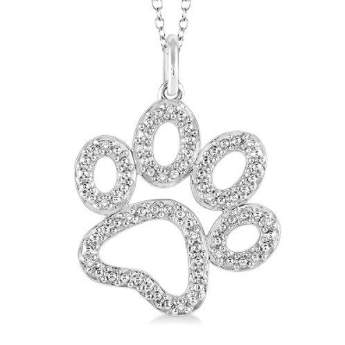 silver paw diamond pendant