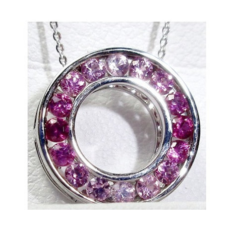 Ombre Pink Sapphire Circle Pendant