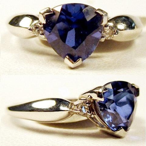 Trillion Cut Created Sapphire & Diamond Ring