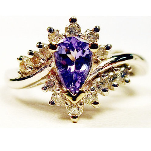 Pear Shaped Tanzanite & Diamond Ring