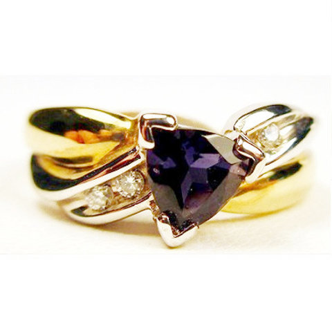 Two-Tone Trillion Cut Iolite & Diamond Ring