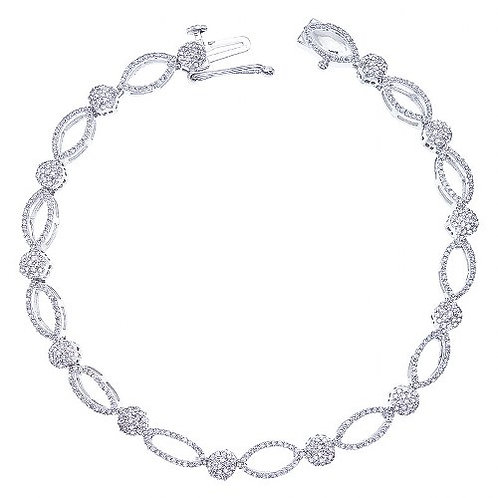 14K White Gold Diamond Links Fashion Bracelet