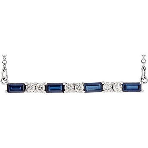 14K White Blue Sapphire & 1/8 CTW Diamond Bar Necklace