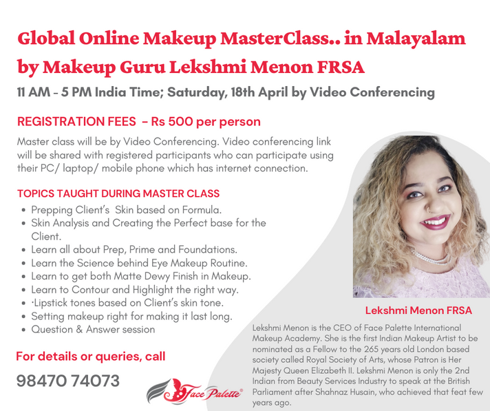 Global Online Makeup Master Class in Malayalam by Makeup Guru Lekshmi Menon FRSA
