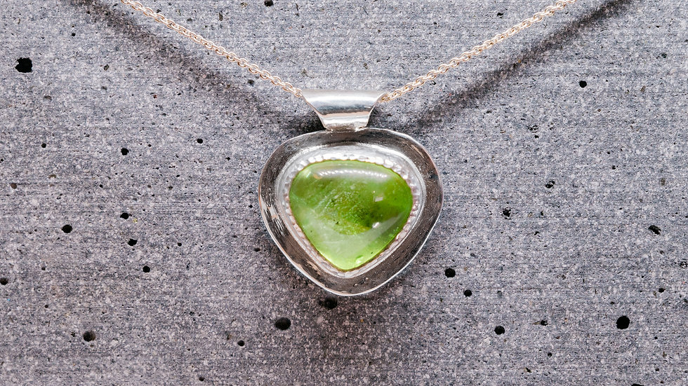Heart shaped Peridot pendant