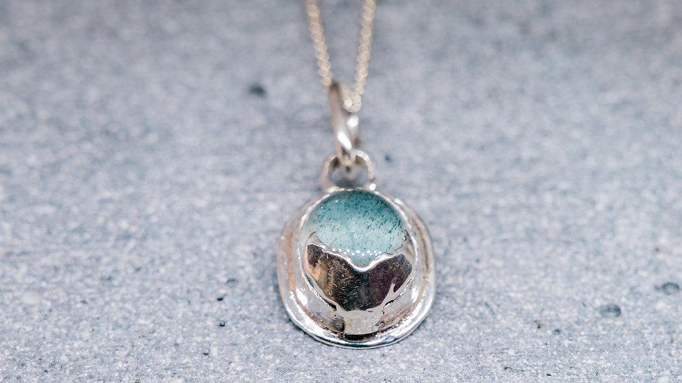 I whaley love you Moss Aquamarine pendant