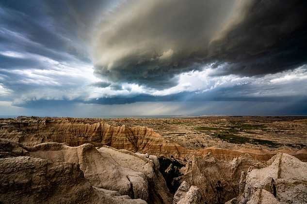 Storm front over the Badlands