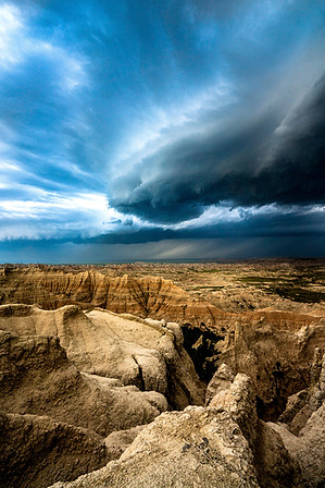 Stormy weather over the Badlands