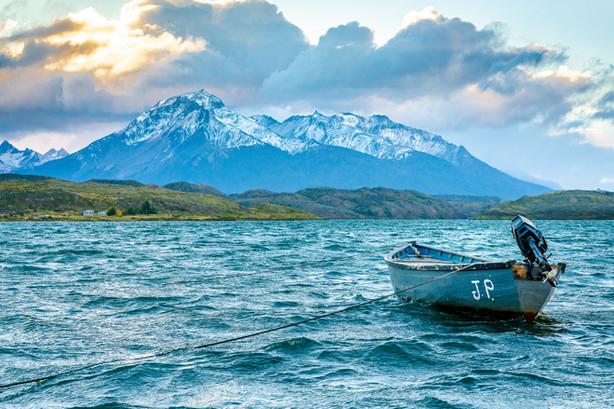 Boat on choppy waters