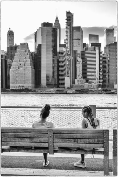 Enjoying a view of the Manhattan skyline
