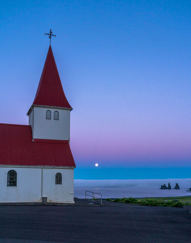 Moonrise and Church in Vik