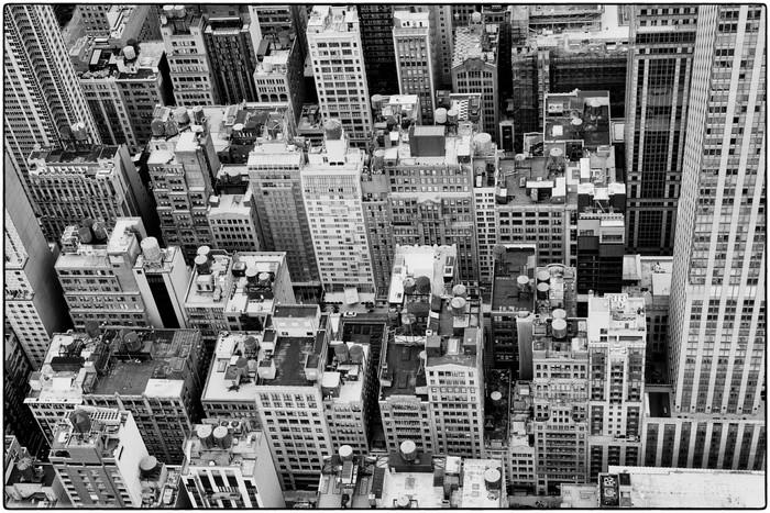 Looking down at NYC