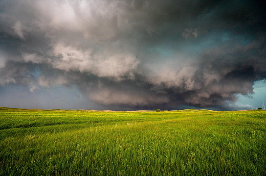 A messy storm trying to spawn a tornado, maybe