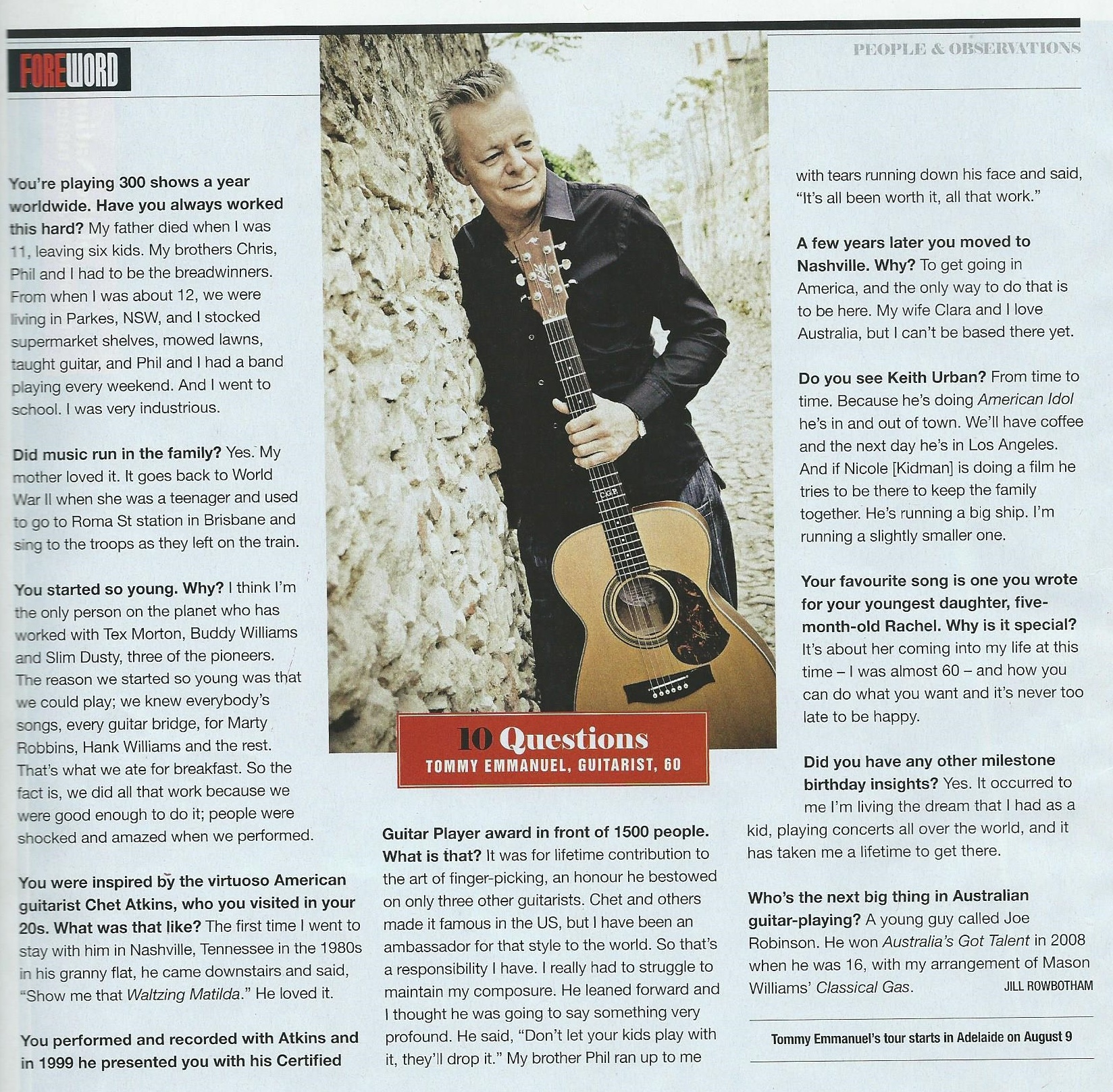 Tommy Emmanuel in The Aust magazine