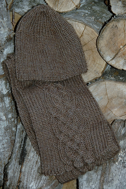 """Scarf & Hat """"Nelson Island moccha"""" - Pure Wool"""