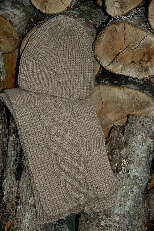 "Scarf & Hat ""Nelson Island latte"" - Pure Wool"
