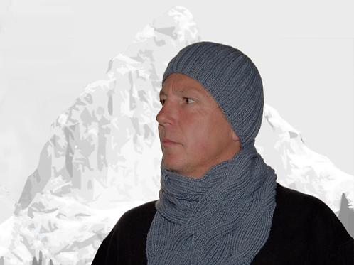 "Scarf & Hat ""Galiano Island grey"" - Pure Cashmere"