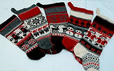 Five different designs of Christmas stockings