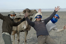 With friends in the Gobi Desert