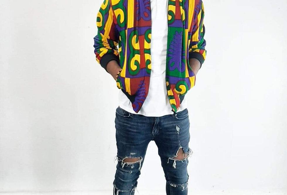 Kwasi Kente Bomber Jacket